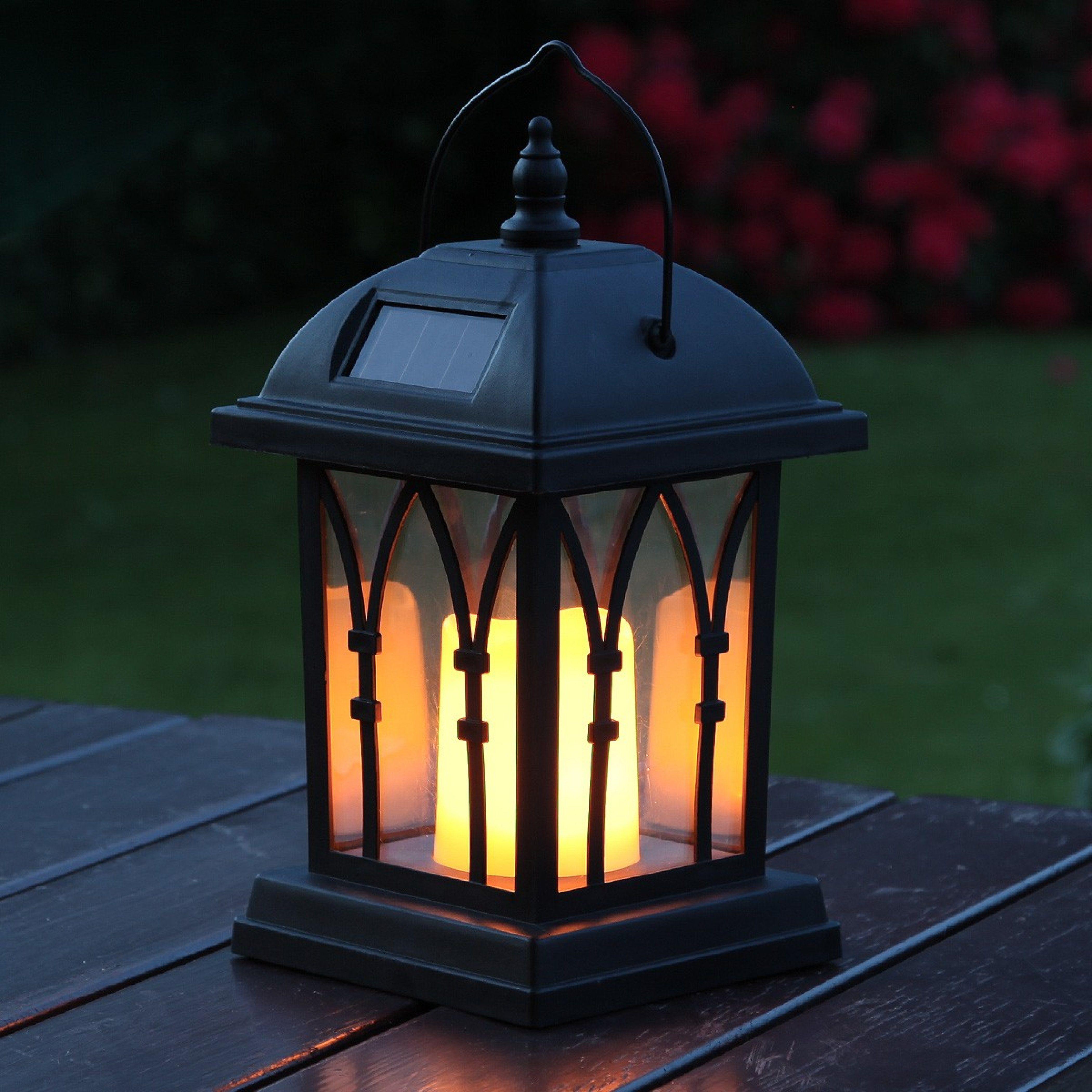 Black Solar Garden Candle Lantern Flickering Amber Led 27cm