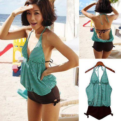 f55c2bf701b Korean Womens Halter Striped One Piece Swimsuits Swimwear Bikinis Bathing  Suit | eBay
