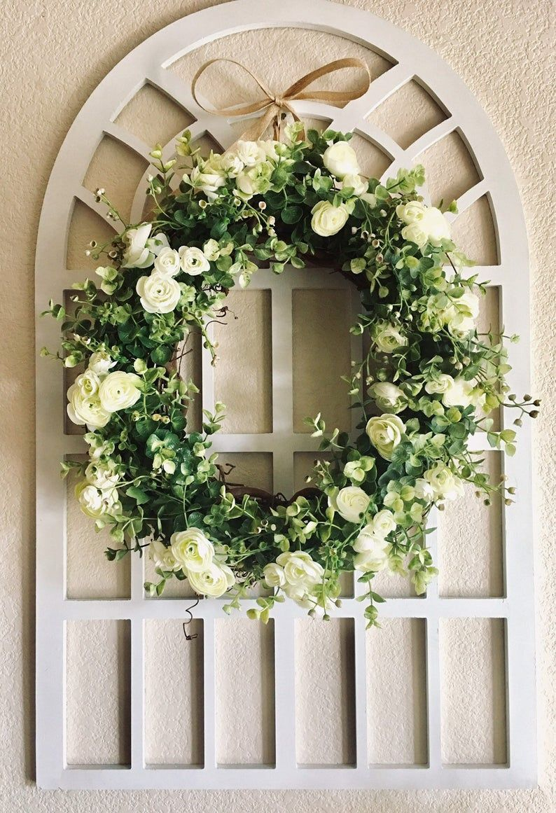 Photo of Eucalyptus Wreath with Greenery and Flowers, Farmhouse Frame, Home Decor, Farmhouse Boxwood Wreath, Rustic Wreath, Spring Wreath