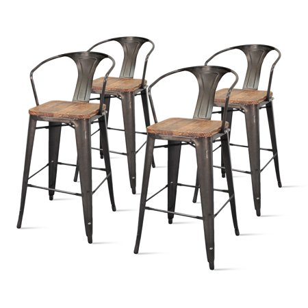 Surprising Metropolis Metal Arm Bar Stool With Wood Seat Set Of 4 Caraccident5 Cool Chair Designs And Ideas Caraccident5Info