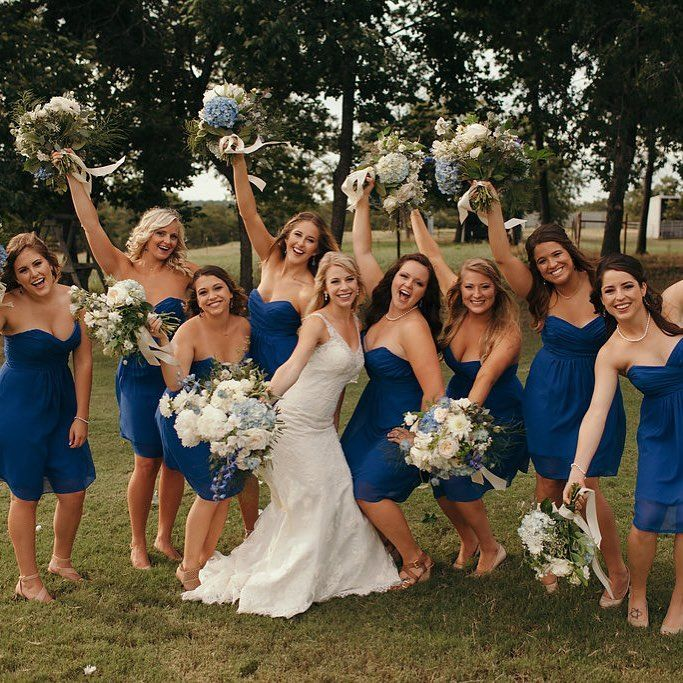 Blue And White Spring Wedding Flowers For Ranch Wedding At