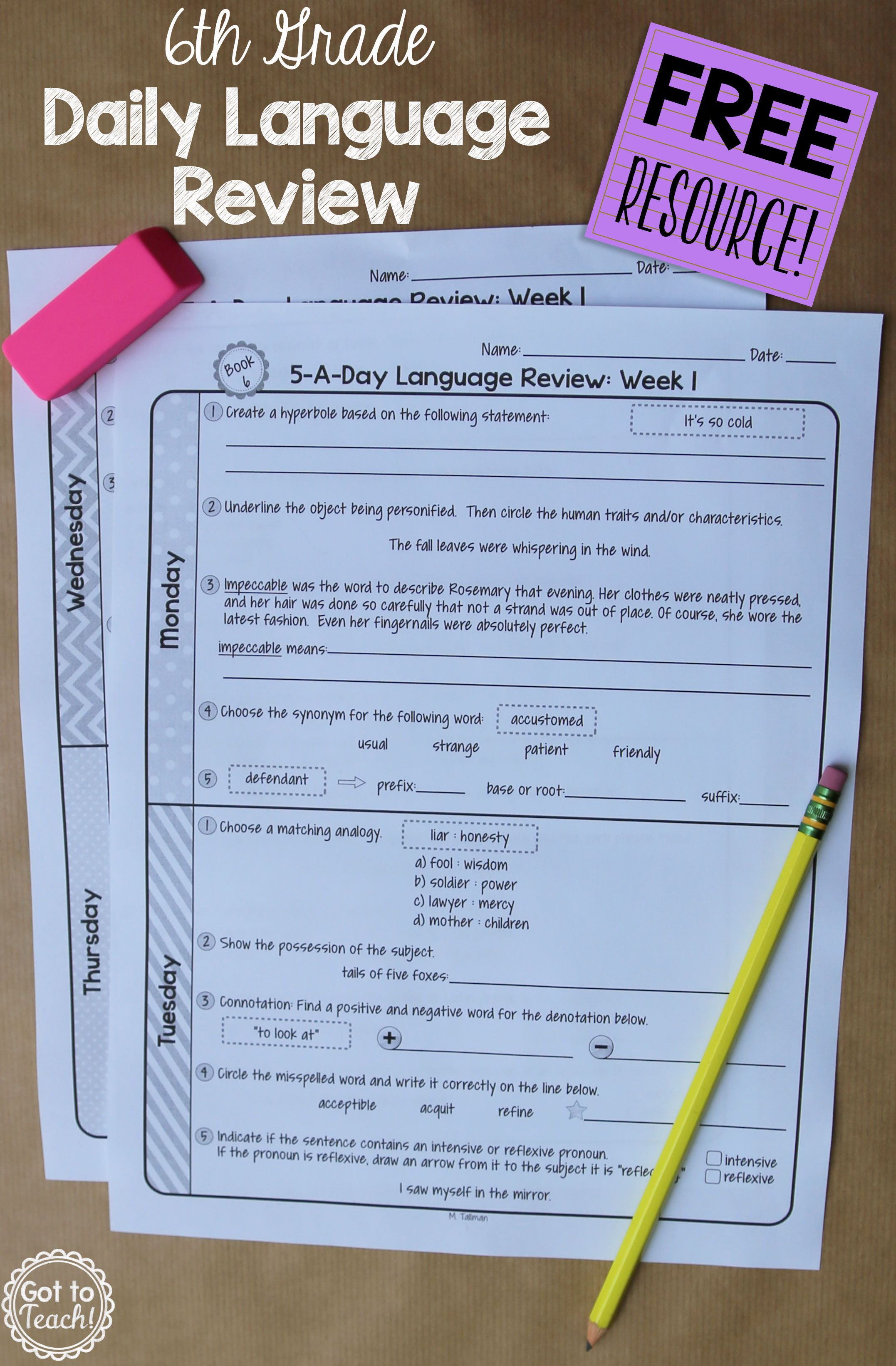 6th Grade Daily Language Spiral Review - 1 Week FREE ...