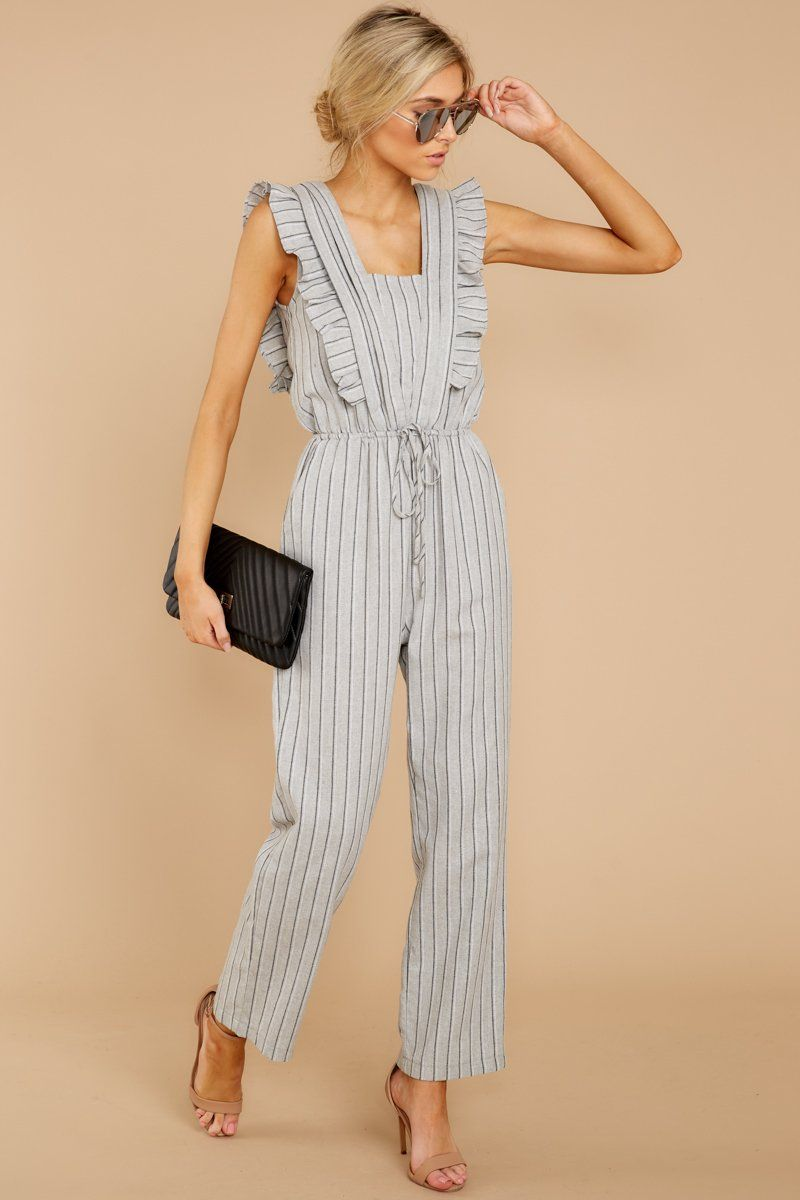 Never Underestimate It Grey Stripe Jumpsuit #casualjumpsuit