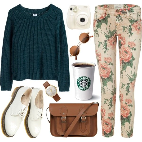 Forest green and floral by hanaglatison on Polyvore featuring Current/Elliott, Dr. Martens, The Cambridge Satchel Company, Junghans, MTWTFSS Weekday, Polaroid, women's clothing, women's fashion, women and female