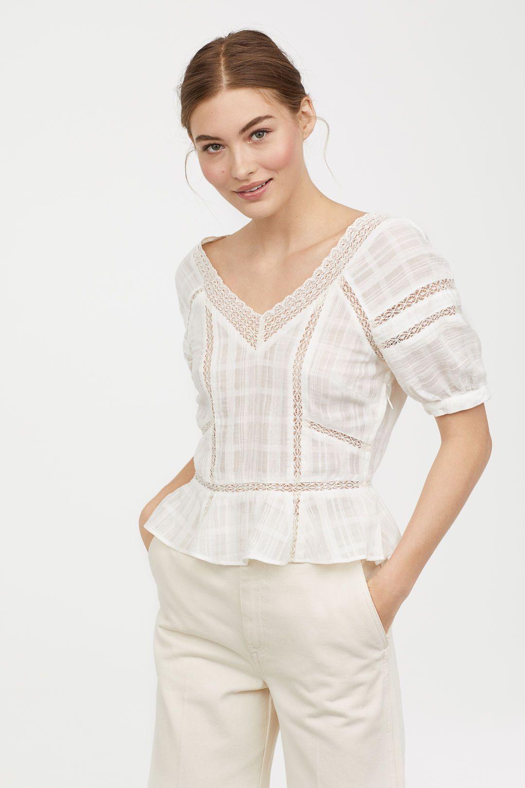 53756b850360b3 V-neck Cotton Blouse - Natural white - Ladies