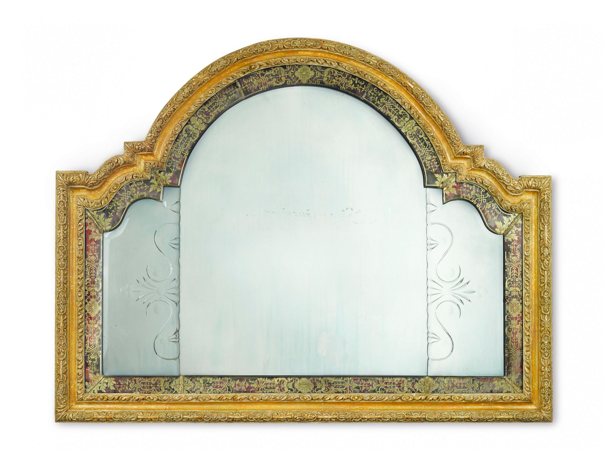 A QUEEN ANNE CARVED GILTWOOD AND VERRE ÉGLOMISÉ OVERMANTEL MIRROR ...