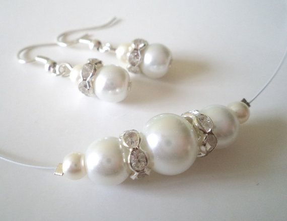 Bridesmaids Gift, White Glass Pearl Necklace and Earrings Set, Bridal Jewelry