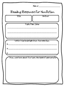 Nonfiction Reading Responses ~ 2nd-5th Grades | Reading ...