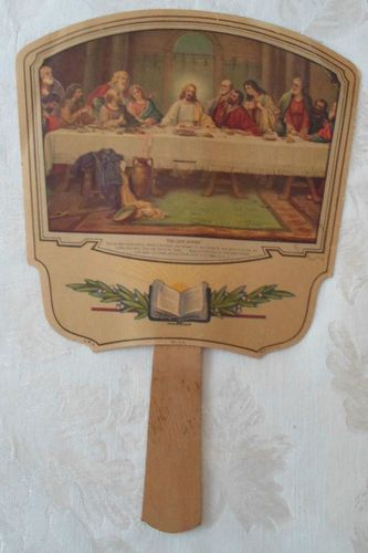 """We had these fans in church when I was a girl. Vintage Paper Hand-Held Church """"The Last Supper"""" Fan"""