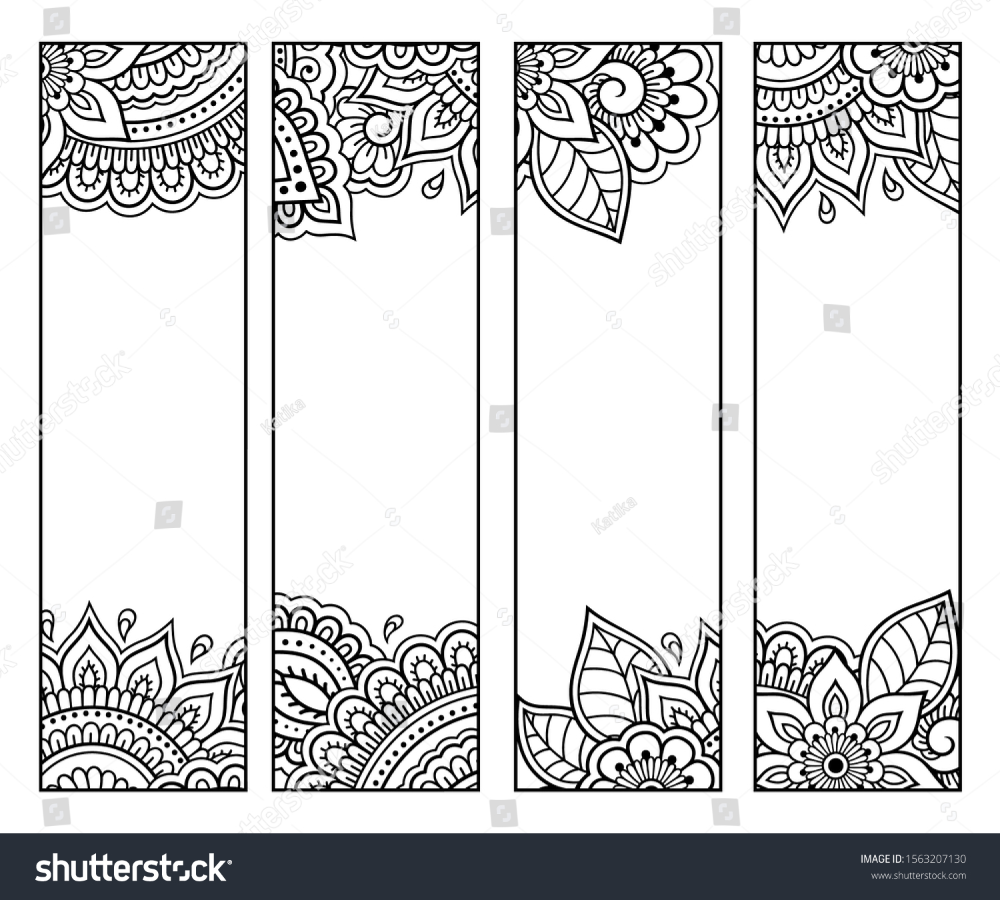 Printable Bookmark For Book Coloring Set Of Black And White Labels With Flower Patterns Hand Draw Coloring Bookmarks Bookmarks Handmade Bookmarks Printable