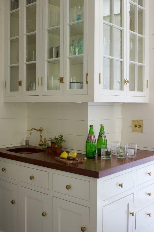 Open Glass Cabinets Shiplap Backsplash Beautiful Wood