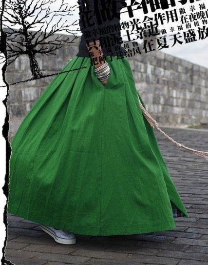Lucious green, mmmm  Green Skirt  Long skirts women Skirts Linen Skirt by fashiondress6, $56.50