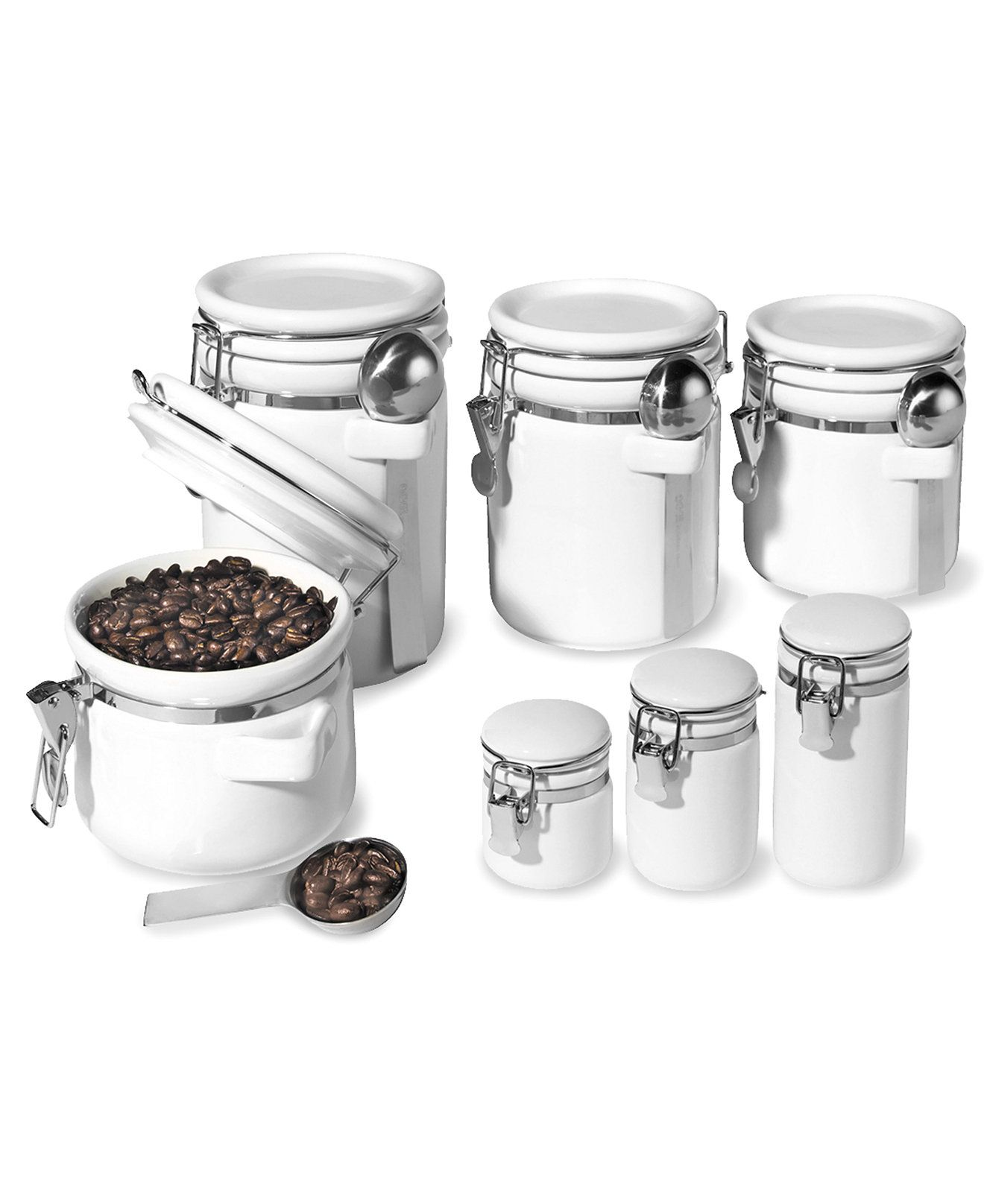 Oggi Food Storage Containers, 7 Piece Set Ceramic Canisters ...