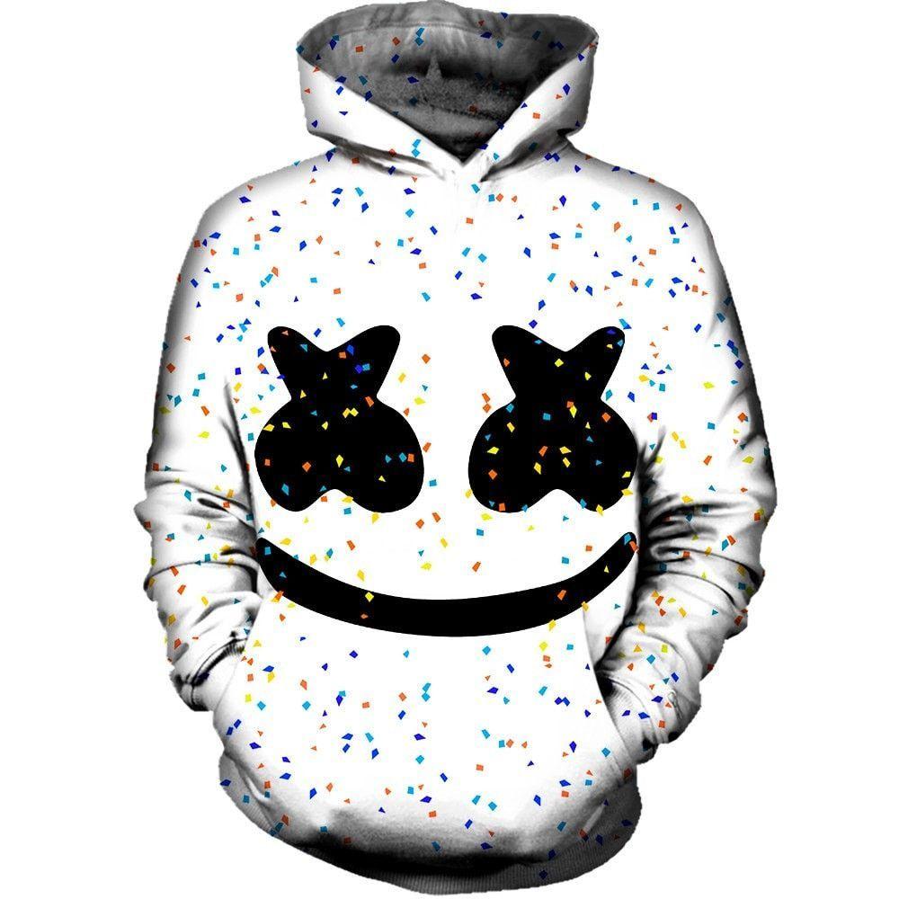 Marshmello DJ Men Autumn Winter Black Hoodies Fleece Sweater Pullover Sweatshirt