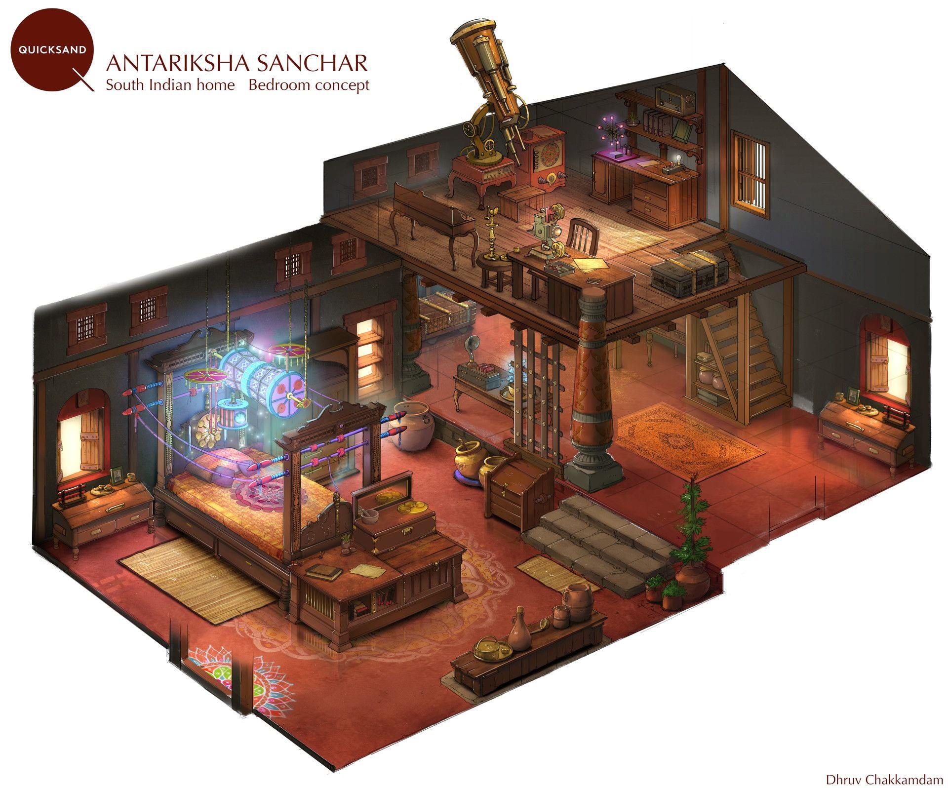 artstation south indian home concept dhruv chakkamadam environments interior pinterest. Black Bedroom Furniture Sets. Home Design Ideas