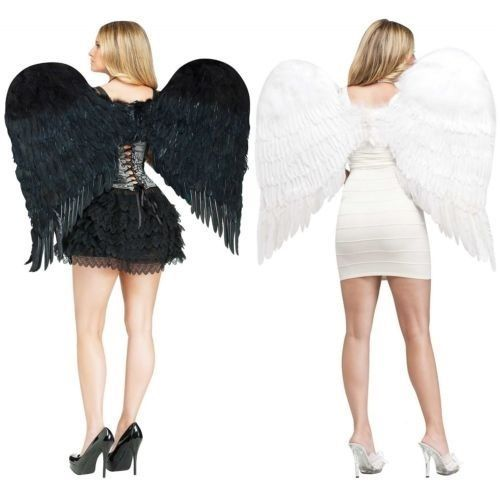 Halloween Fancy Dress Costume Accessory NEW Feathered White Angel Wings