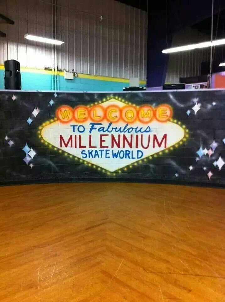 """Front of the DJ booth """"Welcome to Fabulous  Millennium Skate World"""""""