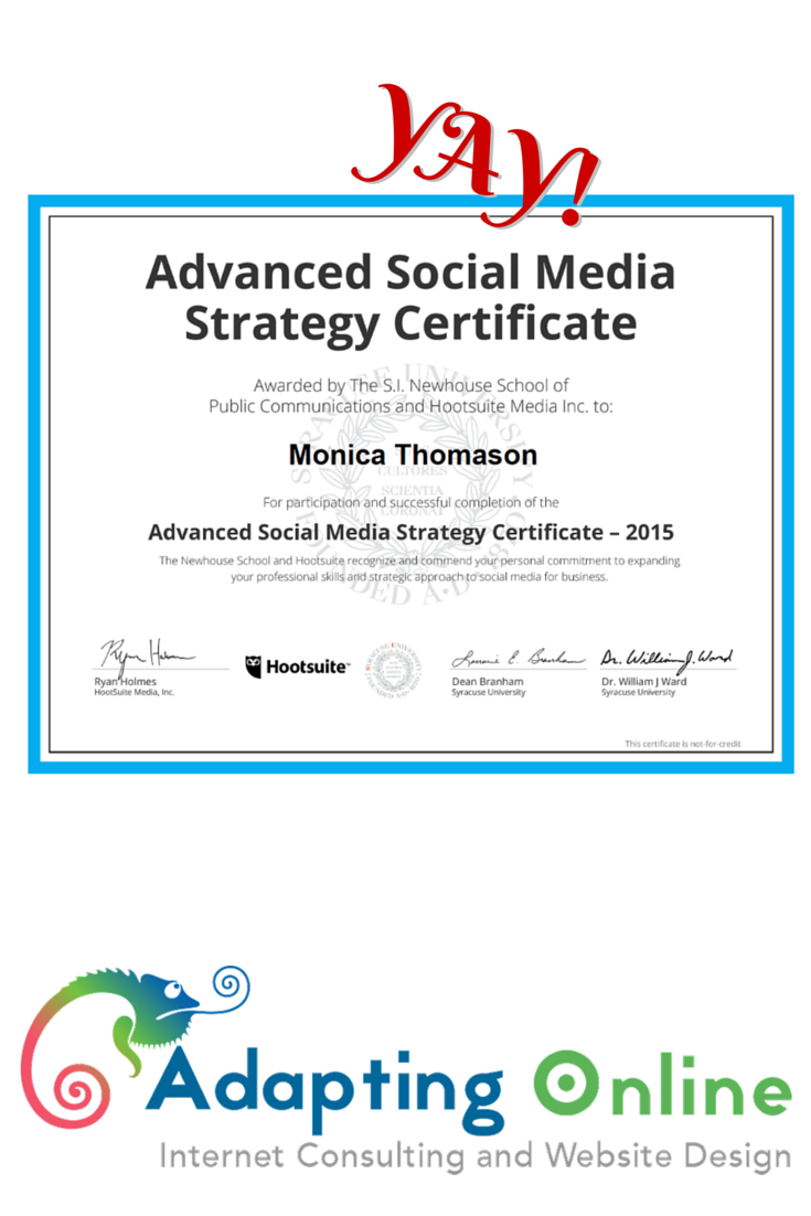I Just Earned My Advanced Social Media Strategy Certification