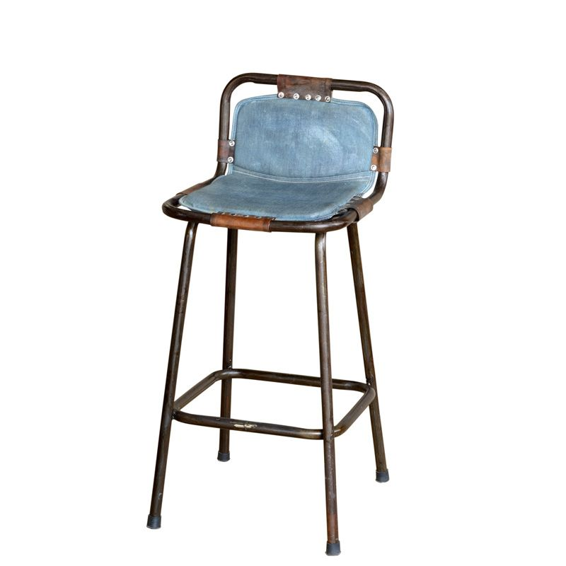 Brilliant Factory Bar Stool With Denim Seat Interiors Vintage Bar Inzonedesignstudio Interior Chair Design Inzonedesignstudiocom