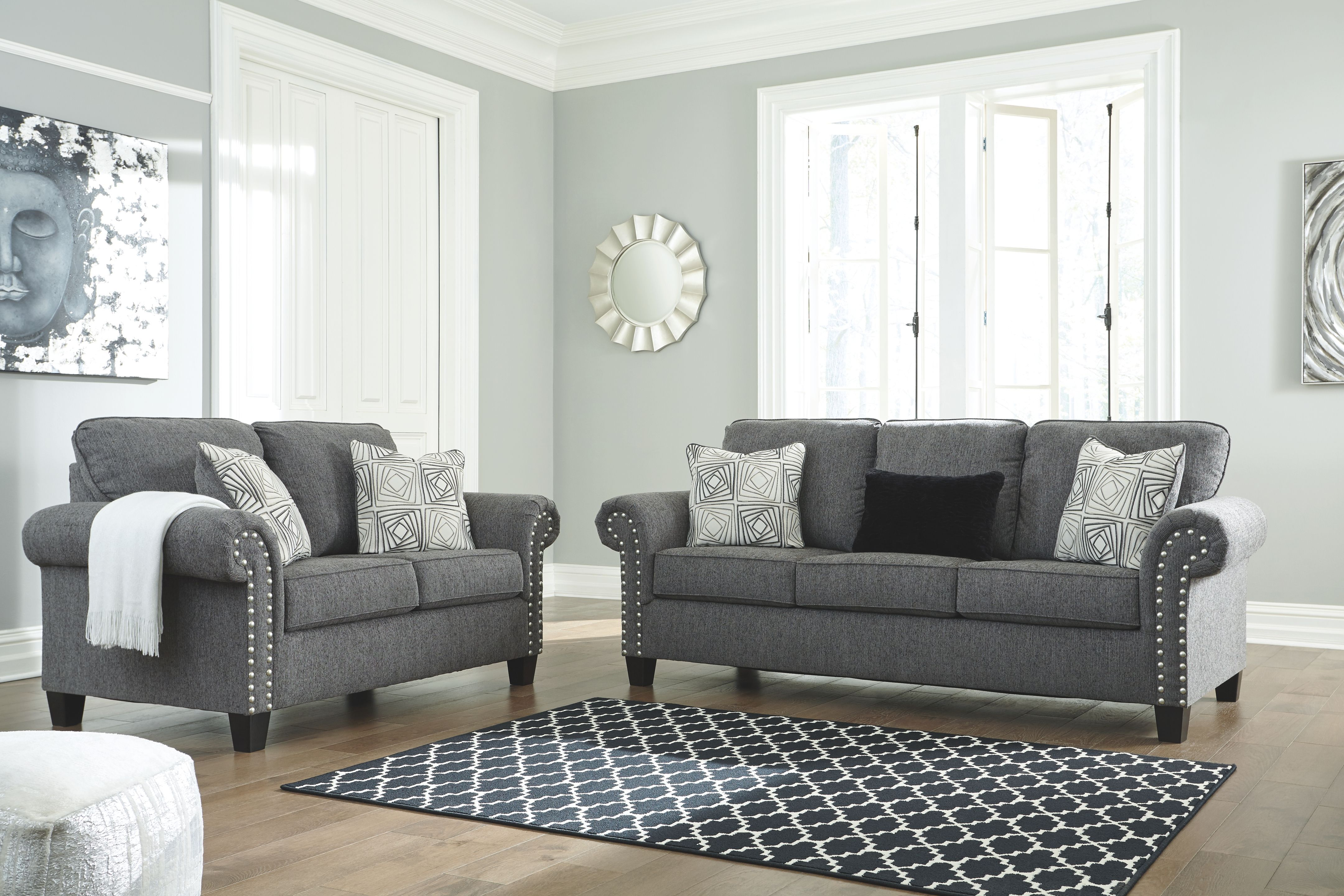Agleno Charcoal Sofa Loveseat With Images Charcoal Sofa