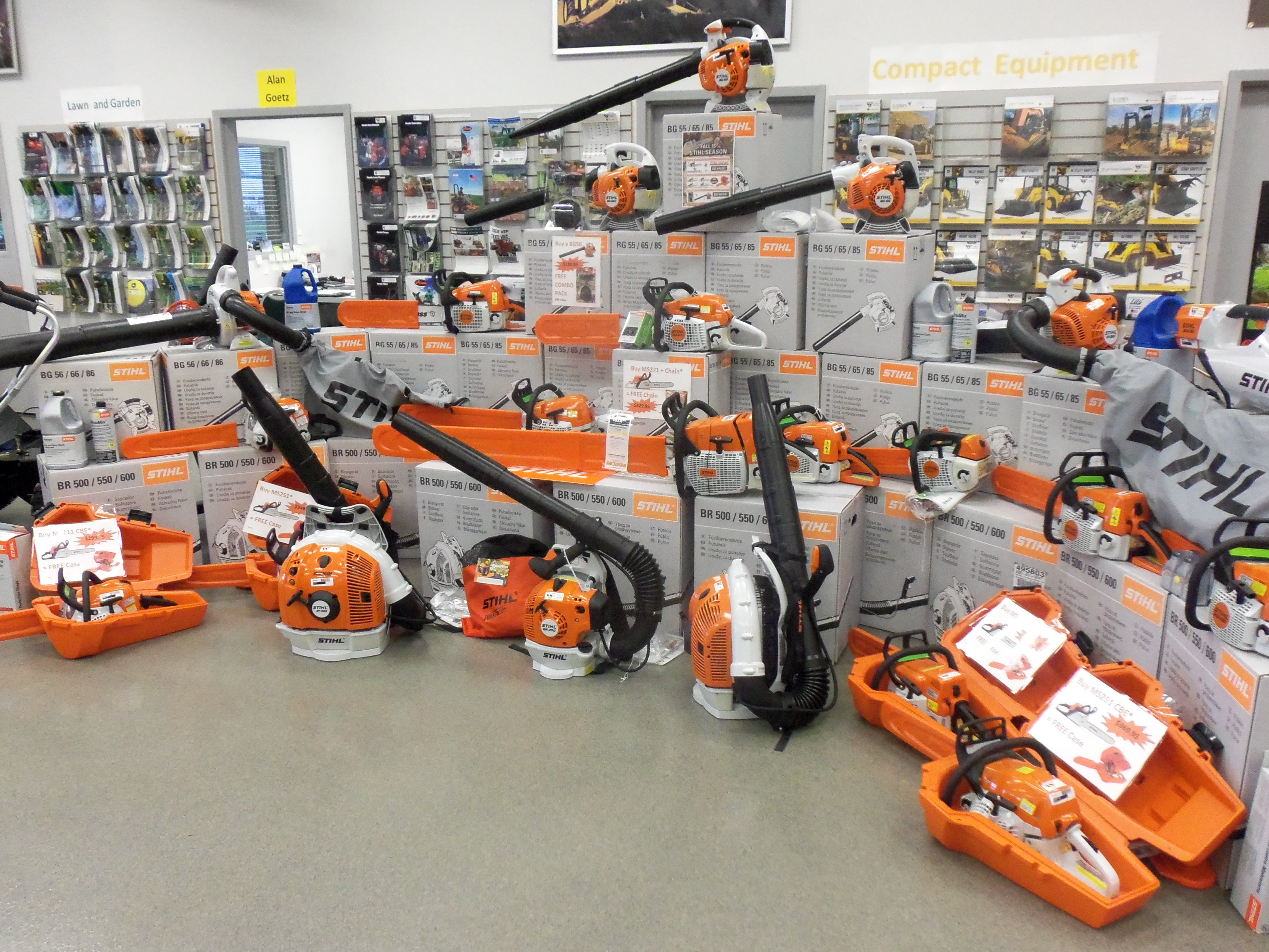 wonderful stihl equipment display at westside tractor things i like display lawn equipment. Black Bedroom Furniture Sets. Home Design Ideas