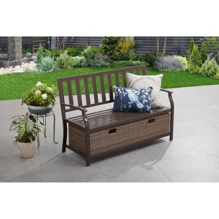 ... Deck Box Patio Bench With Storage Seat Beige All Weather Outdoor  Furniture At Online StoreBetter Homes And Gardens Camrose Farmhouse Bench  With Wicker