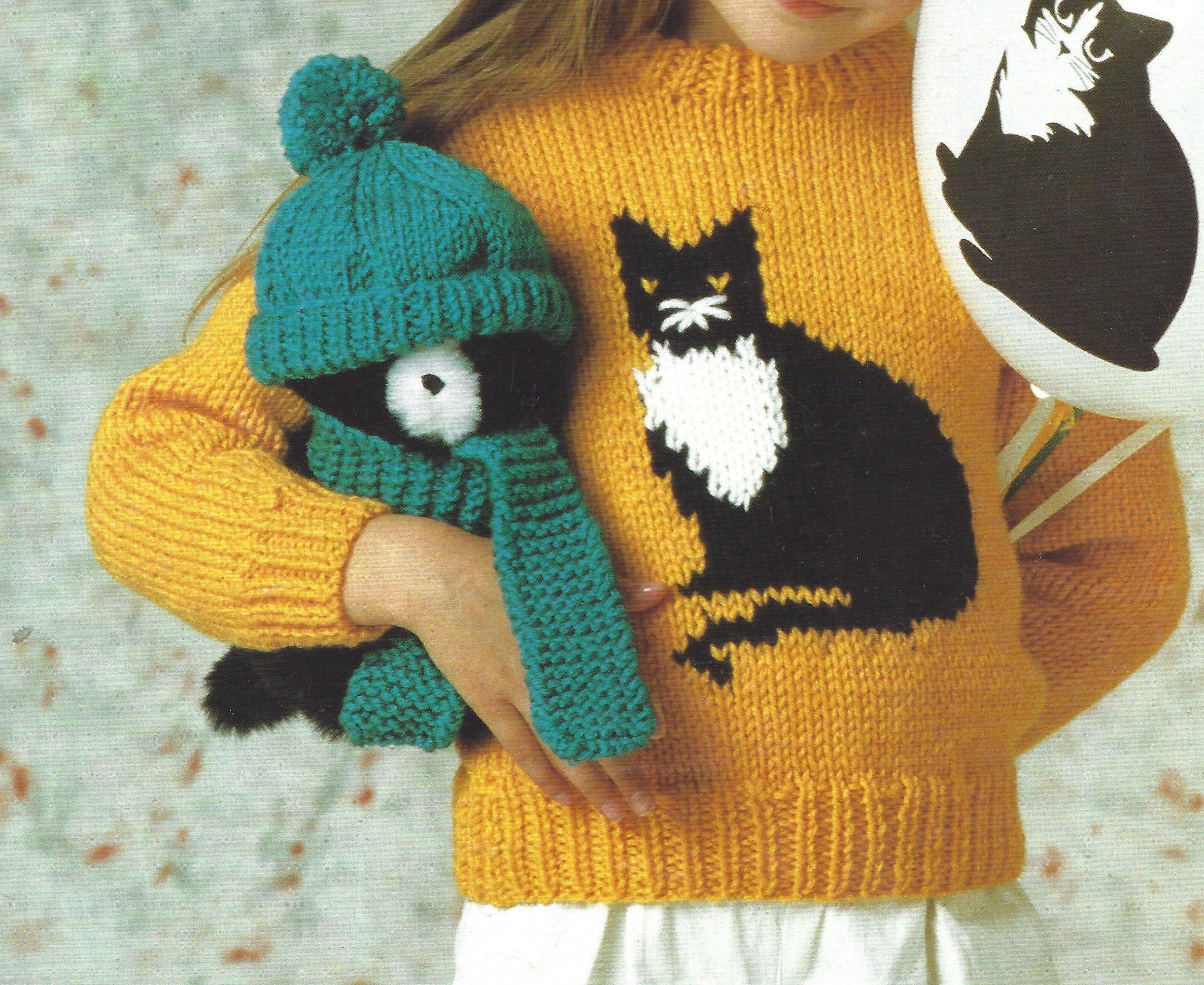 PDF Instant Digital Download childs chunky cat motif ...