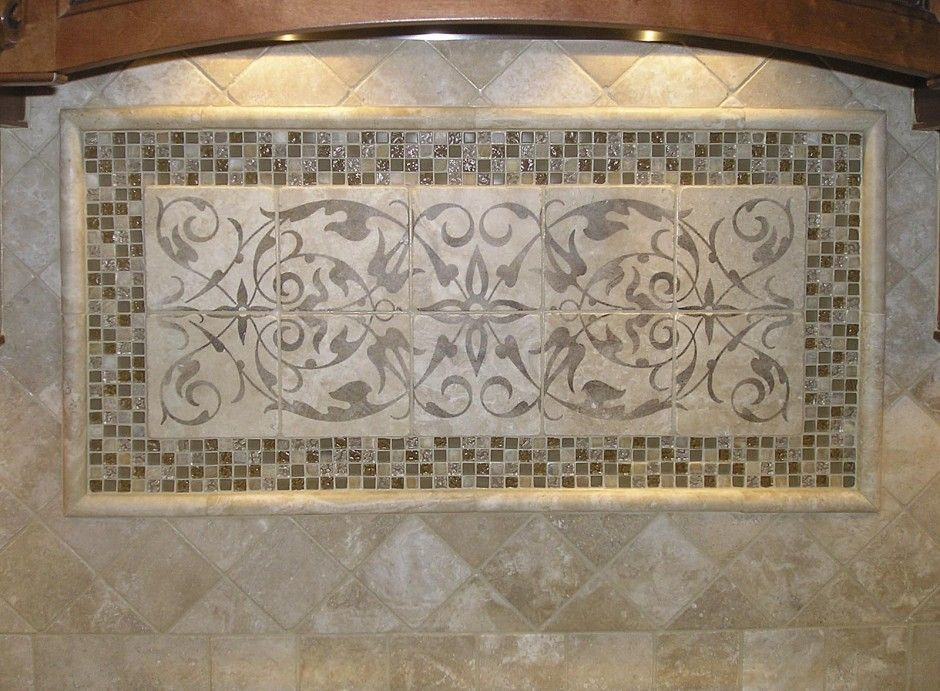 wall accent. elegant kitchen backsplash mural design. elegant