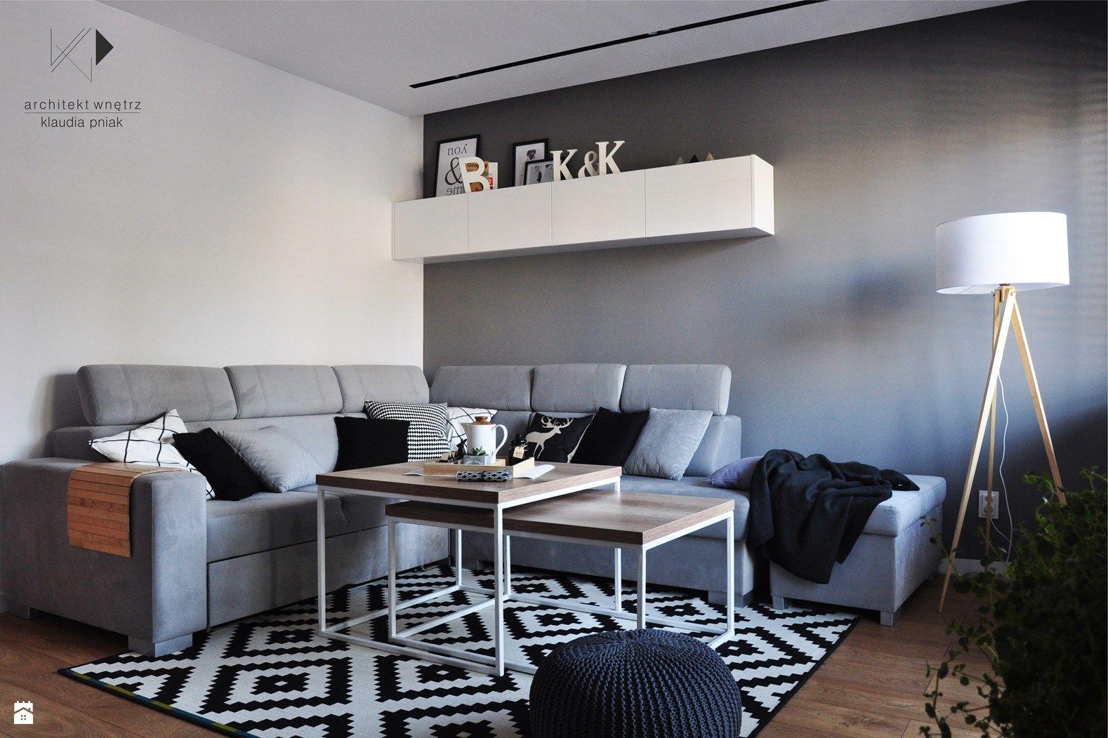 Biało czarny dywan zdjęcie od architekt wnętrz klaudia pniak salon styl nowoczesny architekt wnętrz klaudia pniak