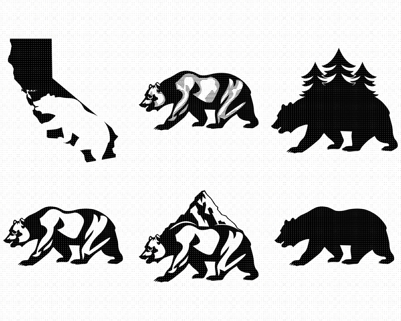 California Bear Svg Bundle California Bear Svg Us State Svg Grizzly Svg Black Bear Svg California Svg State M Bear Stencil Black Bear Svg California Bear