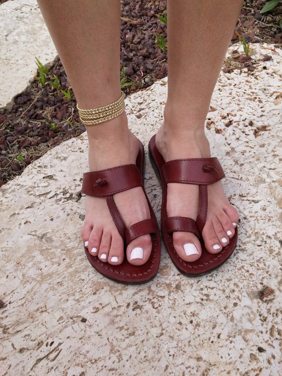 cf5688716bd Brown Leather Sandals EMPIRE Women s Shoes Jesus by Sandalimshop ...