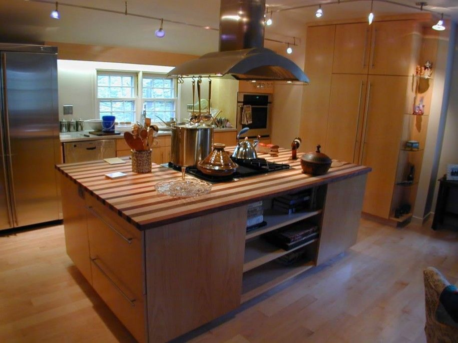 Kitchen Top Design Ideas Wooden Kitchen Island With Stove Top In Kitchen  Island Under Chimney Extractor Fan With Contemporary Kitchen Design Ideas