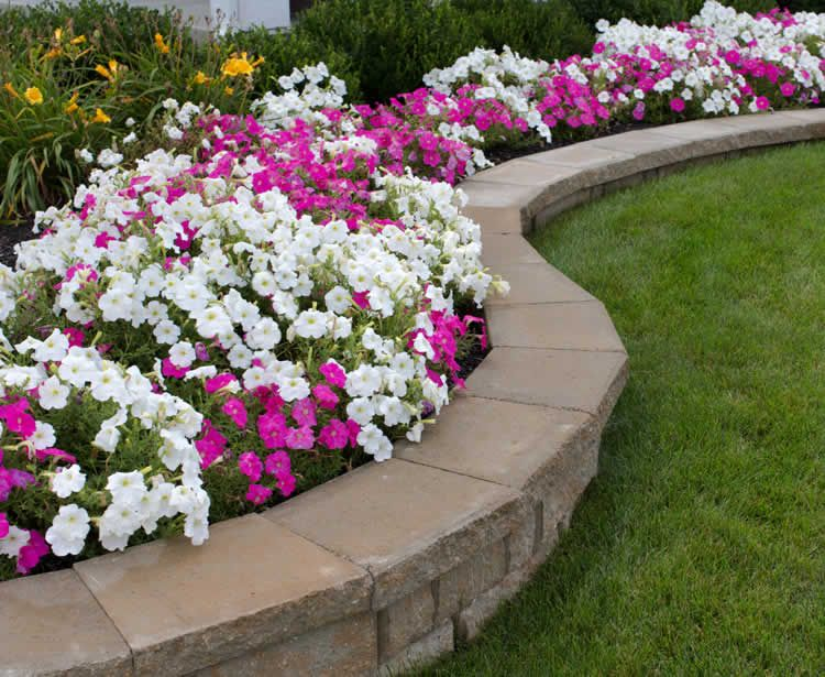 Paver landscaping retention walls and stone landscape for Flower bed wall designs
