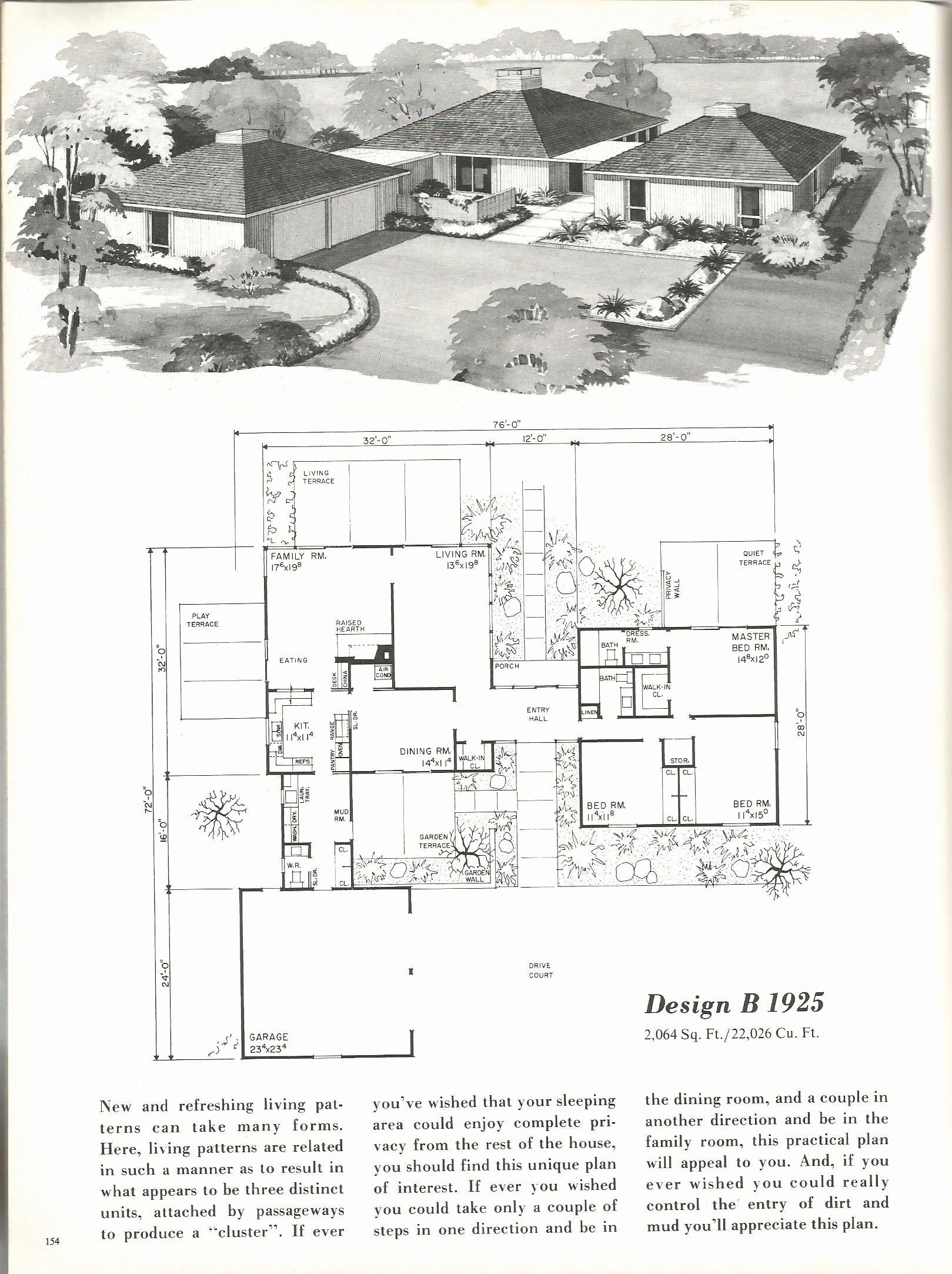 1960s Mid Century House Plans Fresh Vintage House Plans ...