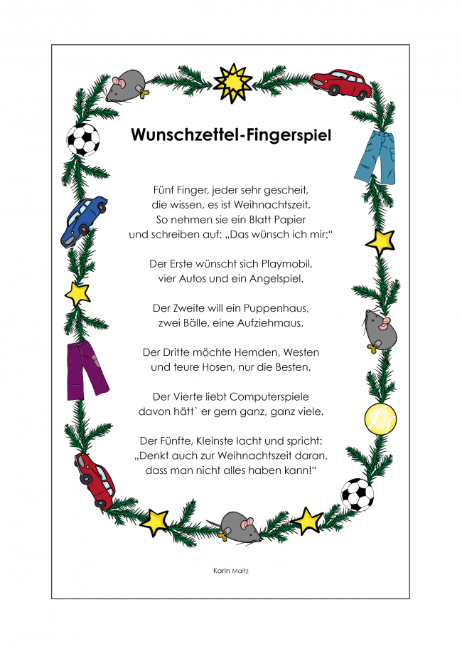 kindergarten kigaportal fingerspiele wunschzettel advent. Black Bedroom Furniture Sets. Home Design Ideas