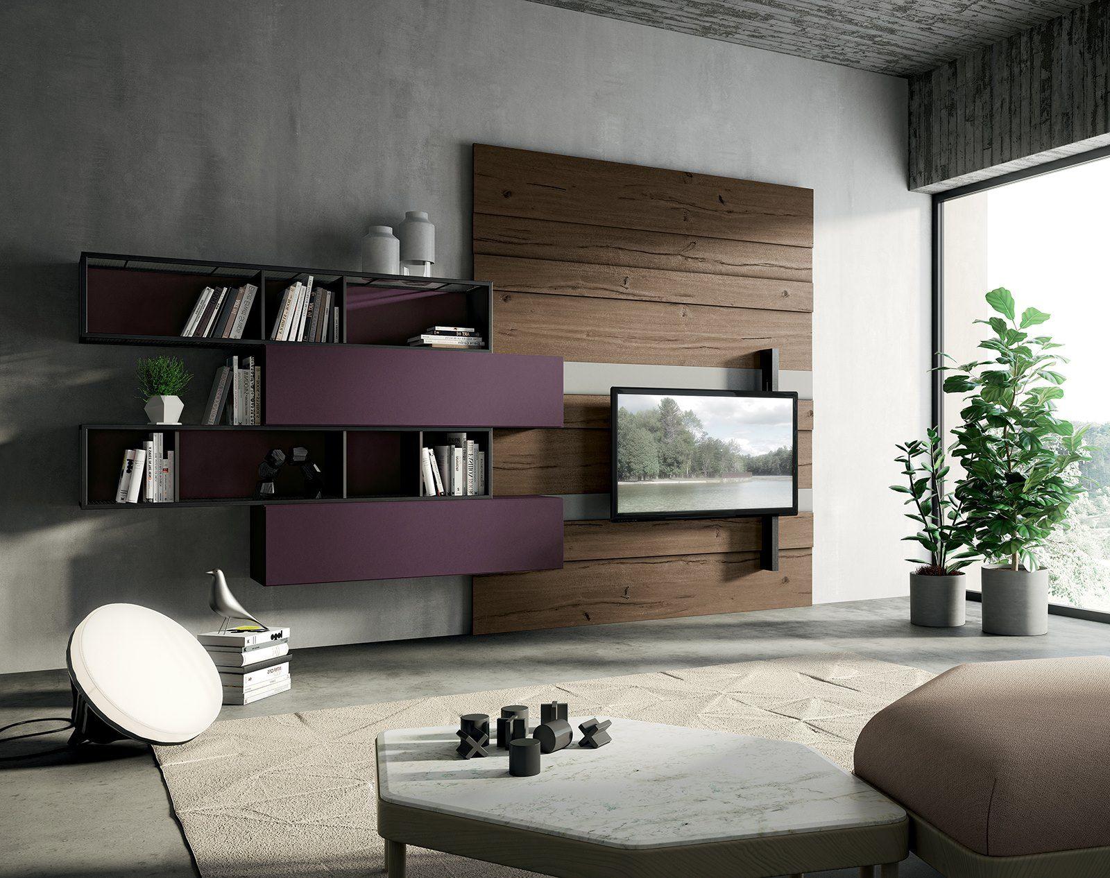 Fimar Mobili soggiorno con Boiserie in legno di olmo | Arredamento ...