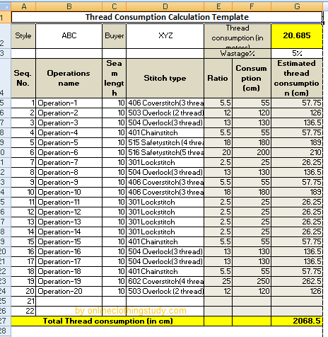 Sewing Thread Consumption Calculation Template Download Excel