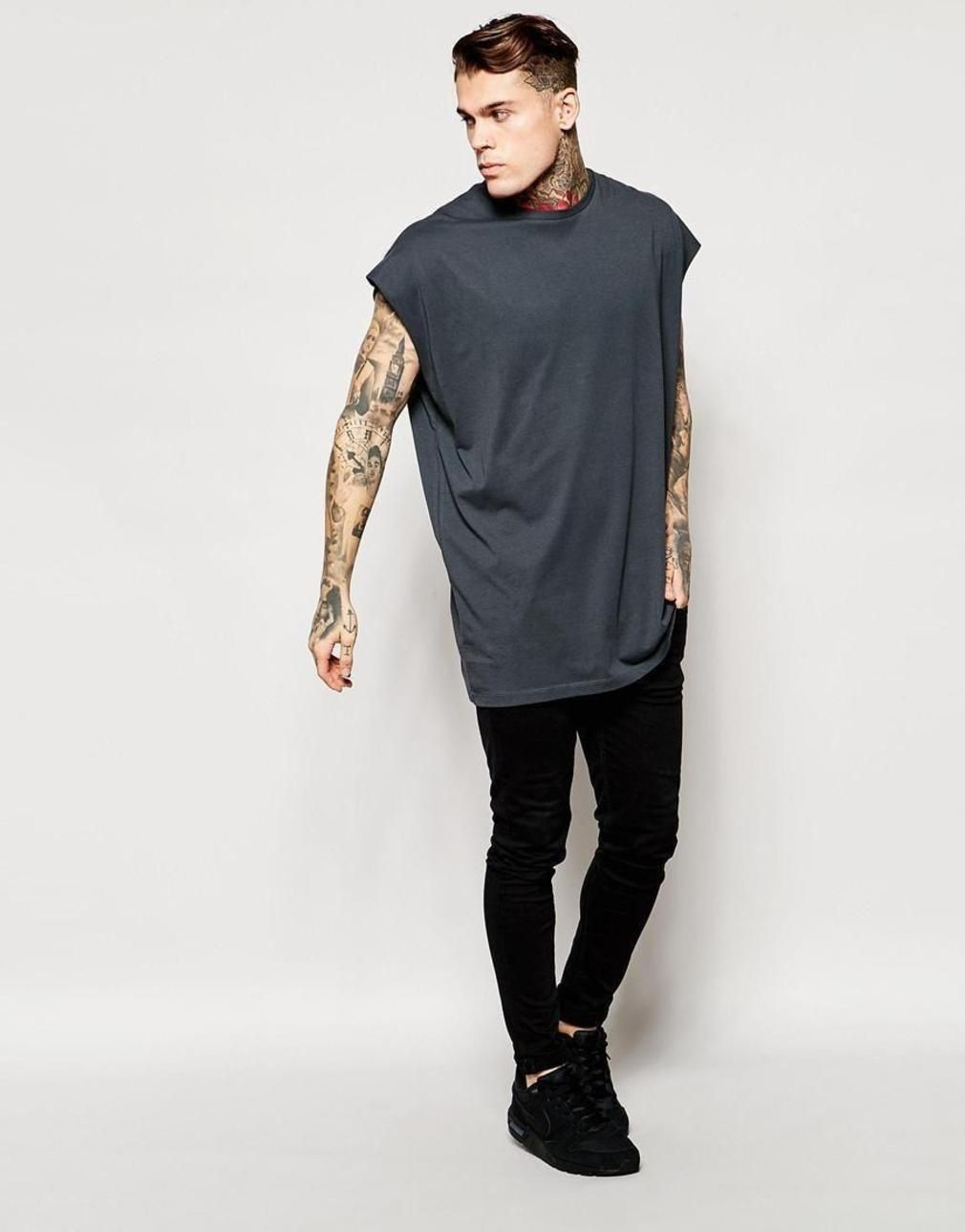 Super Oversized Sleeveless T Shirt In Gray With Raw Edge Outfit Men39s Digital Circuit Board Tshirt 2xlarge Light Blue Clothing