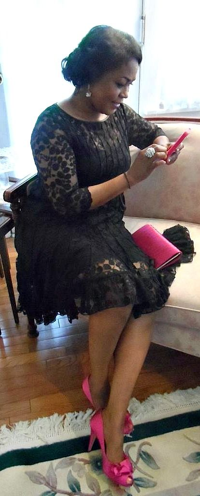 Beautiful Classy Lady Love The Black Lace Dress And The Hot Pink