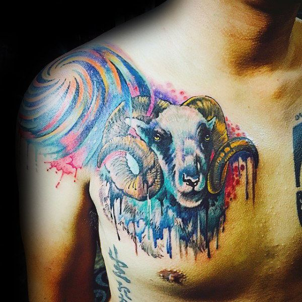 617dda43f 75 Aries Tattoos For Men - Zodiac Ink Design Ideas | Aries tattoos ...
