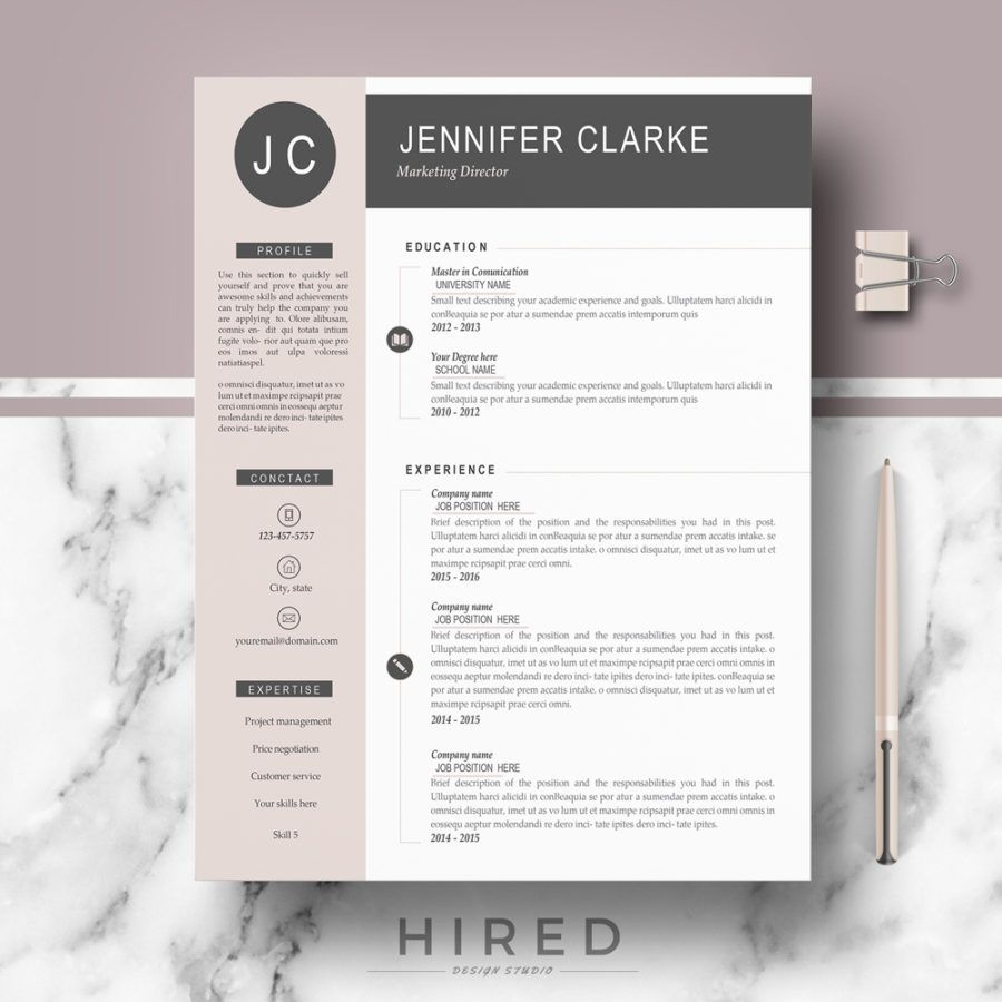 "Resume Template Modern Professional & Modern Resume Template For Ms Word ""Jennifer"