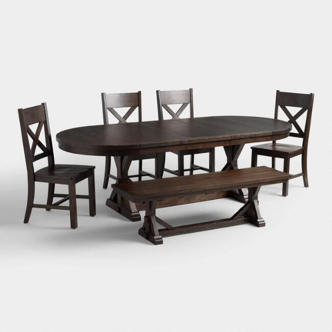 Rustic Brown Oval Wood Brooklynn Extension Dining Table V7