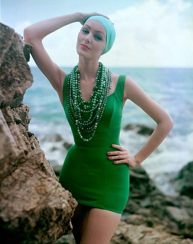 (vintage style  green bathing suit) modeled by Lucinda Hollingsworth