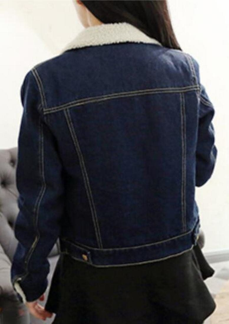 4cc095cfaba Jaycargogo Womens Casual Thicken Lambs Wool Denim Jacket Loose Jean Coat  Dark Blue L   Click