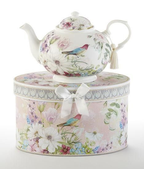 Fine China Boxed Flamingo Tea for One Teapot /& Cup