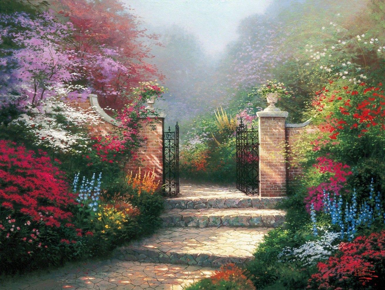 The Victorian Garden Victorian Gardens Kinkade Paintings