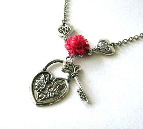 Silver key to my heart necklace red rose jewelry lock