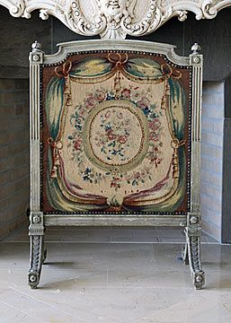 French Antique Louis Xvi Style Aubusson Fireplace Screen Circa