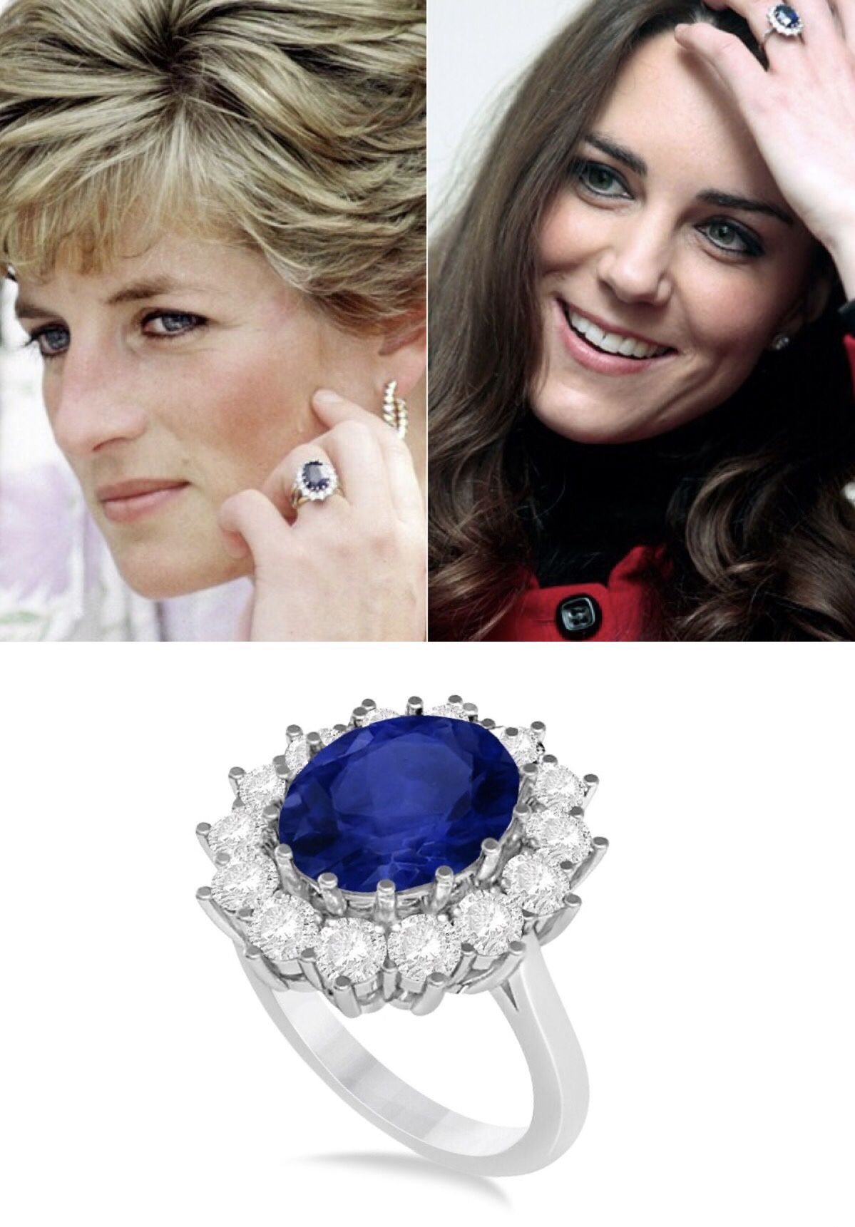 Oval Blue Sapphire Diamond Accented Ring 14k White Gold 5 40ctw In 2020 Kate Middleton Engagement Ring Kate Middleton Jewelry Blue Sapphire Diamond