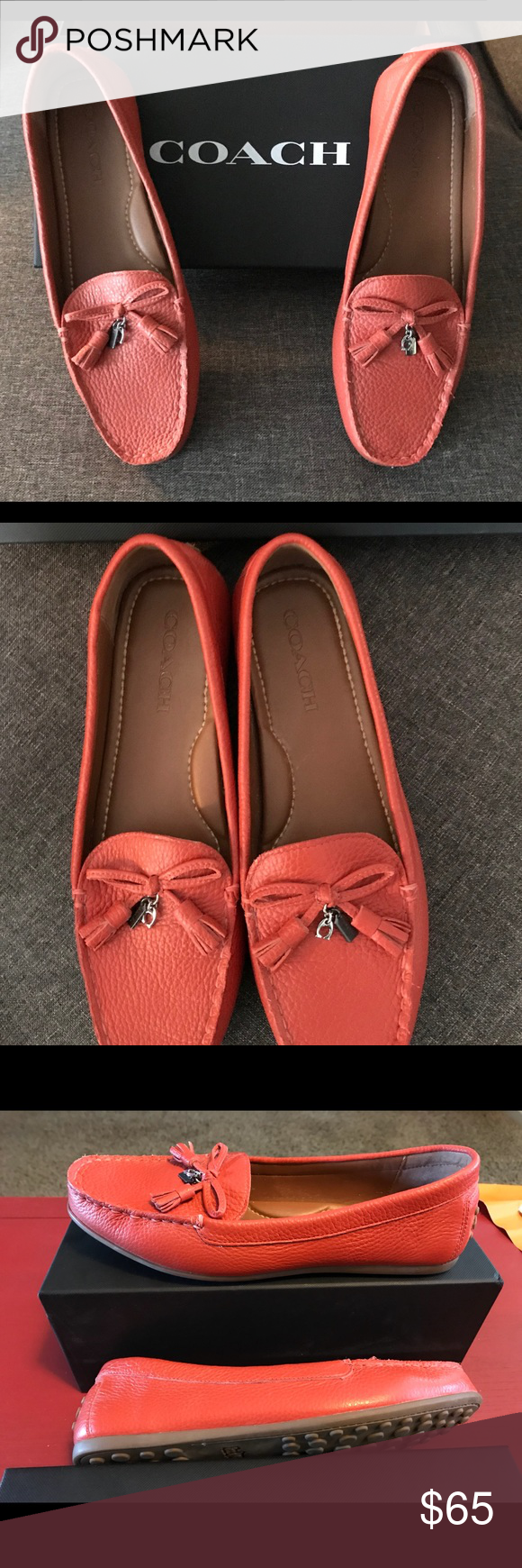 9e98cbbeaae Coach shoes Tassel Greenwich Driver leather. Worn 1 time excellent  condition. Color  orange red Coach Shoes Flats   Loafers